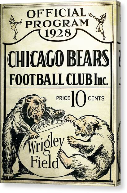 Vintage Chicago Canvas Print - Chicago Bears Football Club Program Cover 1928 by Daniel Hagerman