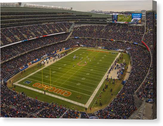 Chicago Fire Canvas Print - Chicago Bears Soldier Field 7795 by David Haskett