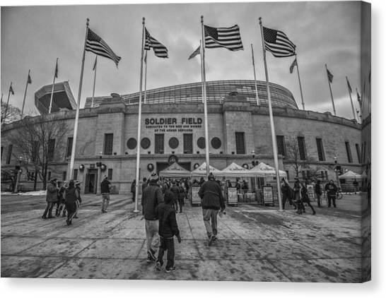 Walter Payton Canvas Print - Chicago Bears Soldier Field Black White 7861 by David Haskett