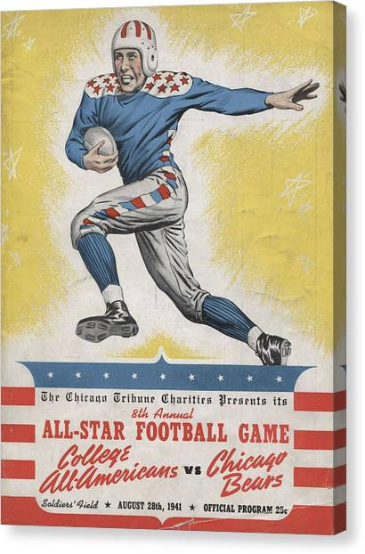 Chicago Bears Canvas Print - Chicago Bears Vintage Program 8 by Joe Hamilton