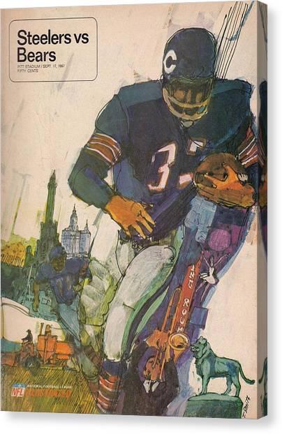 Chicago Bears Canvas Print - Chicago Bears Vintage Program 9 by Joe Hamilton