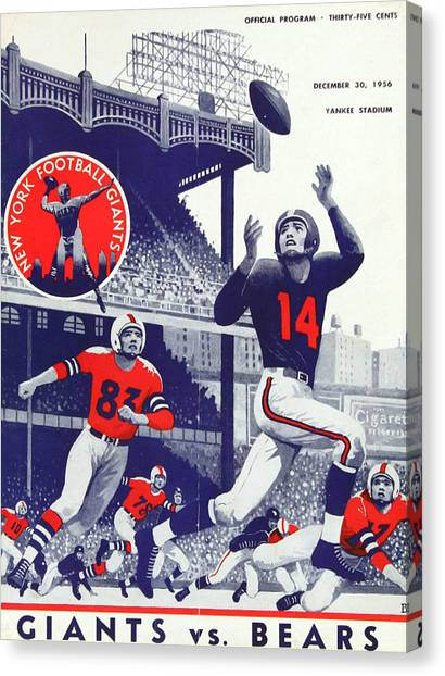 Chicago Bears Canvas Print - Chicago Bears Vintage Program by Joe Hamilton