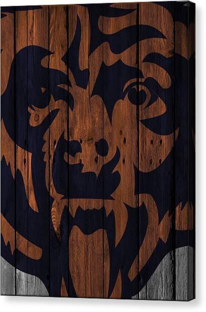 Chicago Bears Canvas Print - Chicago Bears Wood Fence by Joe Hamilton