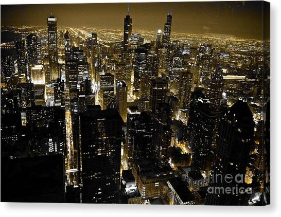 Bladerunner Canvas Print - Chicago Black And Yellow Skyline by Debra Banks