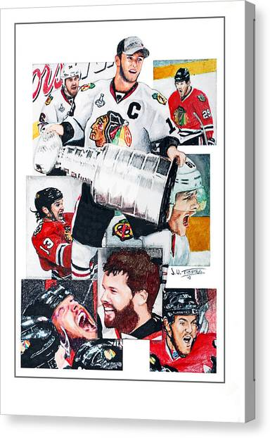 Patrick Kane Canvas Print - Chicago Blackhawks 2013 Faces Of Victory by Jerry Tibstra