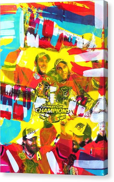 Blackhawk Canvas Print - Chicago Blackhawks 2015 Champions by Elliott From