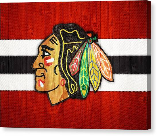 Blackhawk Canvas Print - Chicago Blackhawks Barn Door by Dan Sproul
