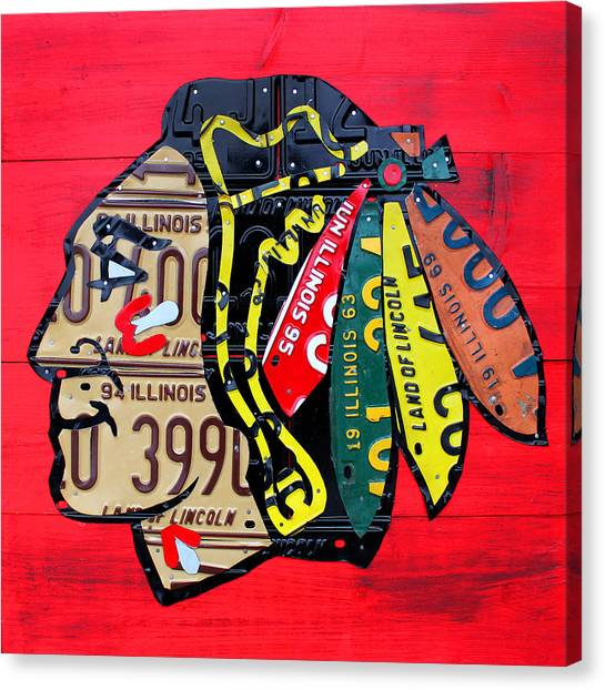 Blackhawk Canvas Print - Chicago Blackhawks Hockey Team Vintage Logo Made From Old Recycled Illinois License Plates Red by Design Turnpike