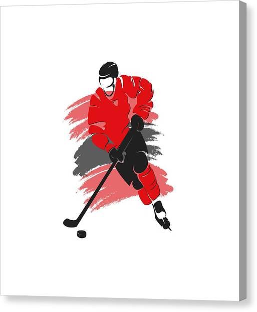 Chicago Blackhawks Canvas Print - Chicago Blackhawks Player Shirt by Joe Hamilton