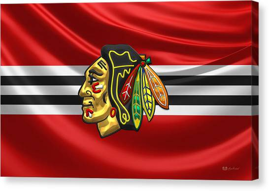 Sports Canvas Print - Chicago Blackhawks by Serge Averbukh