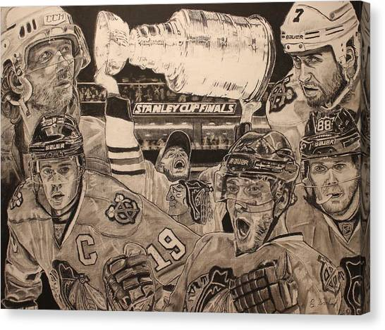 Patrick Kane Canvas Print - Chicago Blackhawks Victory by Brian Sanford