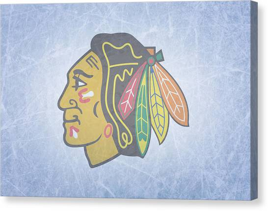 Chicago Blackhawks Canvas Print - Chicago Blackhawks Vintage Hockey At Center Ice by Design Turnpike