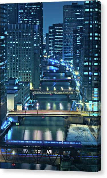 Night Canvas Print - Chicago Bridges by Steve Gadomski