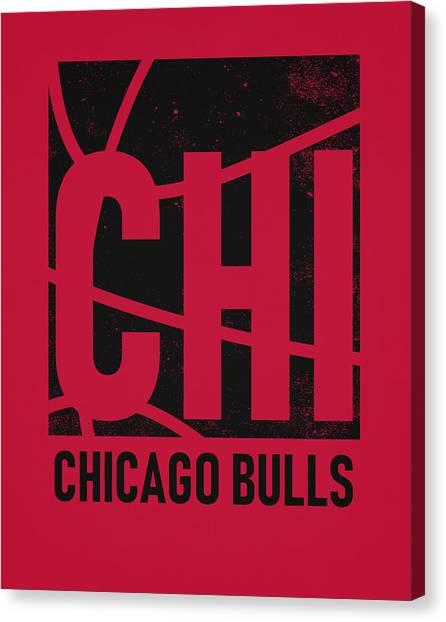 Chicago Bulls Canvas Print - Chicago Bulls City Poster Art by Joe Hamilton