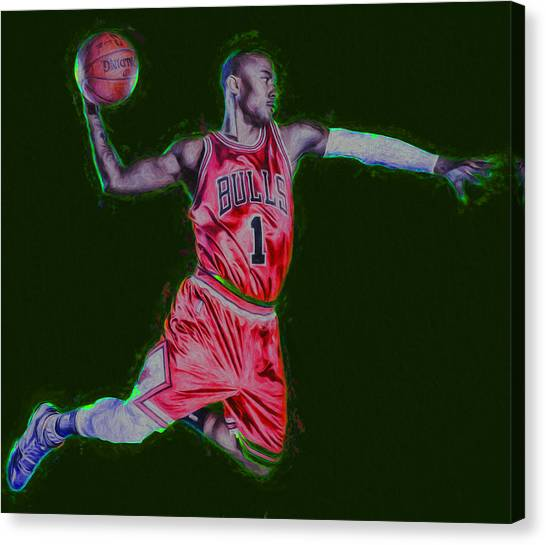 Strikeout Canvas Print - Chicago Bulls Derrick Rose Painted Digitally Red by David Haskett