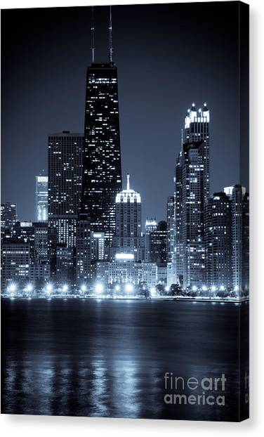 Hancock Building Canvas Print - Chicago Cityscape At Night by Paul Velgos