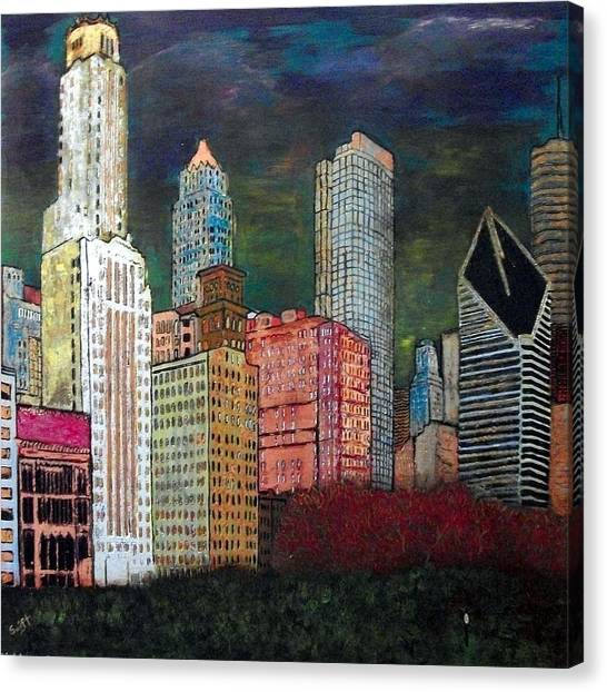 Chicago Cityscape Canvas Print by Char Swift