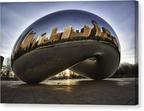 Chicago Cloud Gate At Sunrise Canvas Print