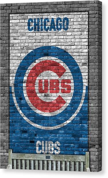 Bat Canvas Print - Chicago Cubs Brick Wall by Joe Hamilton
