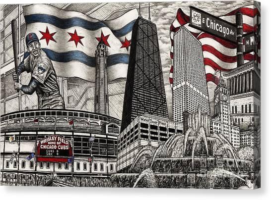 Chicago Cubs, Ernie Banks, Wrigley Field Canvas Print
