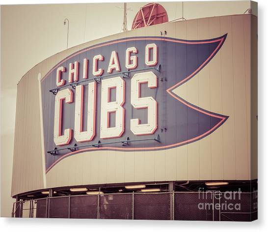 Vintage Chicago Canvas Print - Chicago Cubs Sign Vintage Picture by Paul Velgos