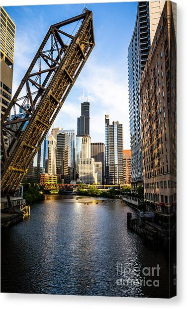 Grant Park Canvas Print - Chicago Downtown And Kinzie Street Railroad Bridge by Paul Velgos