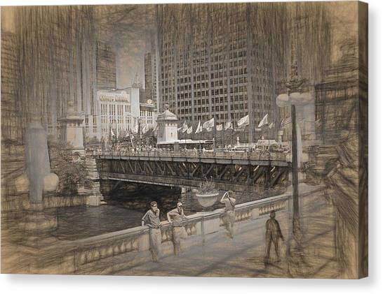 Chicago Dusable Bridge Street Scene Canvas Print