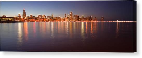 Chicago Dusk Skyline Panoramic  Canvas Print
