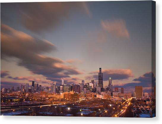 City Sunsets Canvas Print - Chicago Dusk by Steve Gadomski