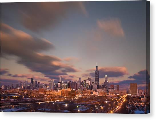 City Sunset Canvas Print - Chicago Dusk by Steve Gadomski