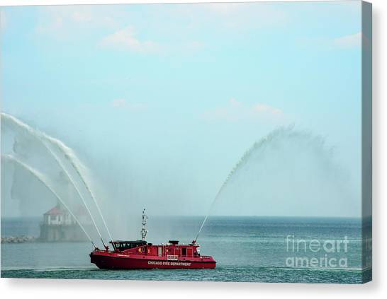 Chicago Fire Department Fireboat Canvas Print