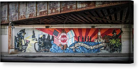 Chicago Fire Canvas Print - Chicago Fire Dept Mural by Mike Burgquist