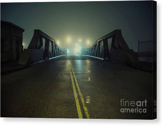 Street Lamp Canvas Print - Chicago Fog by Bruno Passigatti