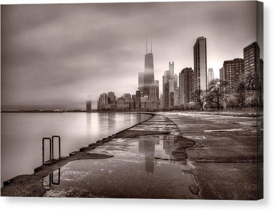 Hancock Building Canvas Print - Chicago Foggy Lakefront Bw by Steve Gadomski