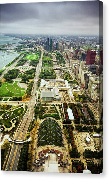Cloudgate Canvas Print - Chicago From Atop by Andrew Soundarajan