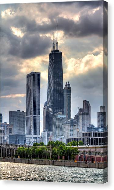 Hancock Building Canvas Print - Chicago From The Pier by Joshua Ball