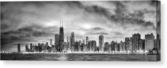Chicago Gotham City Skyline Black And White Panorama Canvas Print
