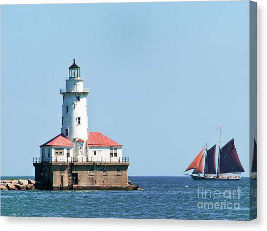 Chicago Harbor Lighthouse And A Tall Ship Canvas Print
