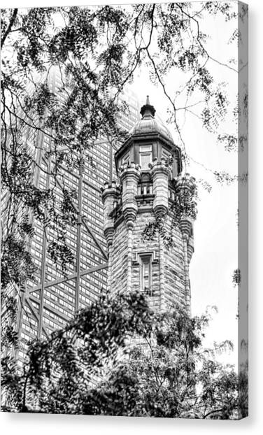 Chicago Fire Canvas Print - Chicago Historic Water Tower Fog Black And White by Christopher Arndt