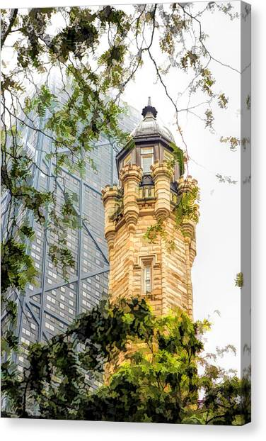 Chicago Historic Water Tower Fog Canvas Print