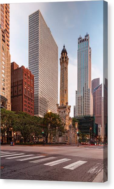 Chicago Fire Canvas Print - Chicago Historic Water Tower On Michigan Avenue - Chicago Illinois by Silvio Ligutti
