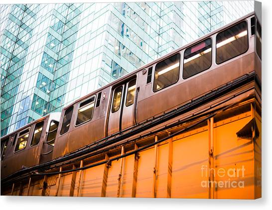 Train Canvas Print - Chicago L Elevated Train  by Paul Velgos
