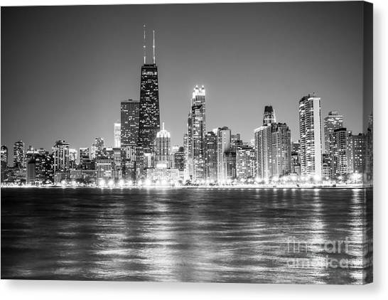 Hancock Building Canvas Print - Chicago Lakefront Skyline Black And White Photo by Paul Velgos