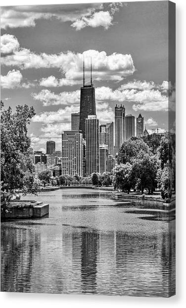 Chicago Lincoln Park Lagoon Black And White Canvas Print
