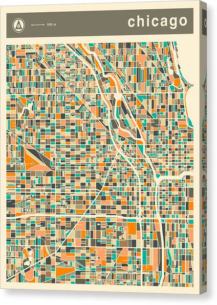 Chicago Canvas Print - Chicago Map 2 by Jazzberry Blue