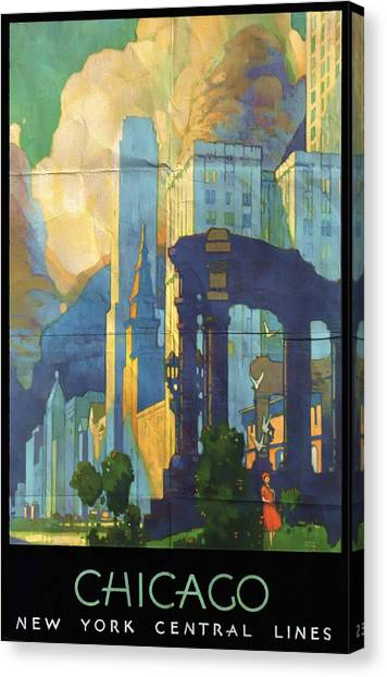 Chicago - New York Central Lines - Vintage Poster Folded Canvas Print