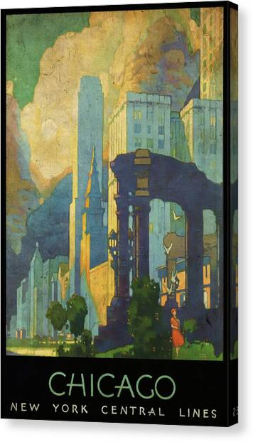 Chicago - New York Central Lines - Vintage Poster Vintagelized Canvas Print