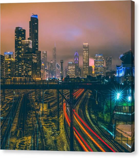 Transportation Canvas Print - Chicago Night Skyline  by Cory Dewald