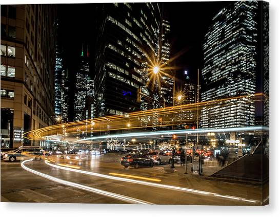Chicago Nighttime Time Exposure Canvas Print