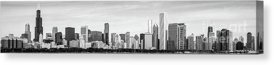 Hancock Building Canvas Print - Chicago Panorama Skyline High Resolution Black And White Photo by Paul Velgos